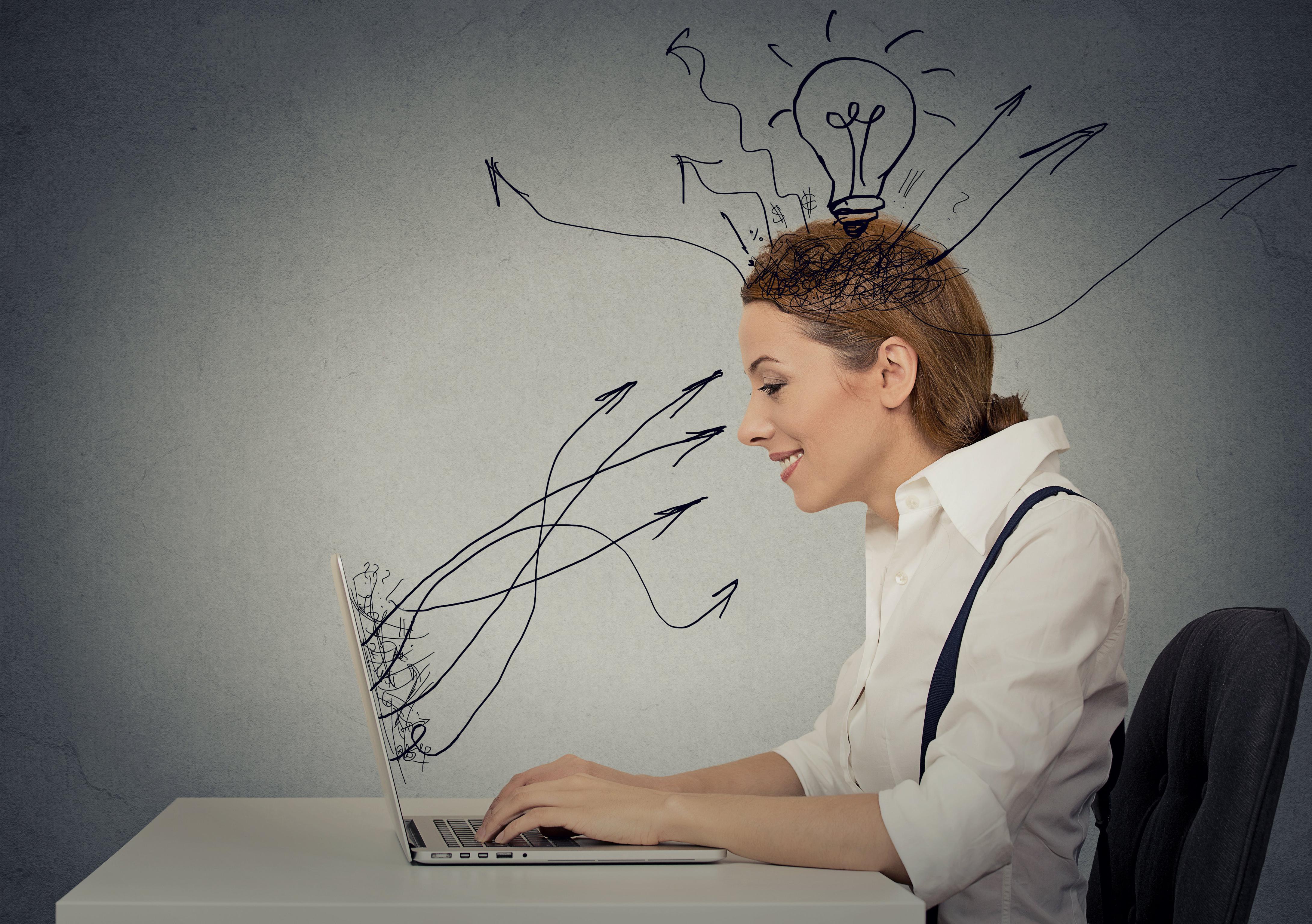 WomanLaptopThinking
